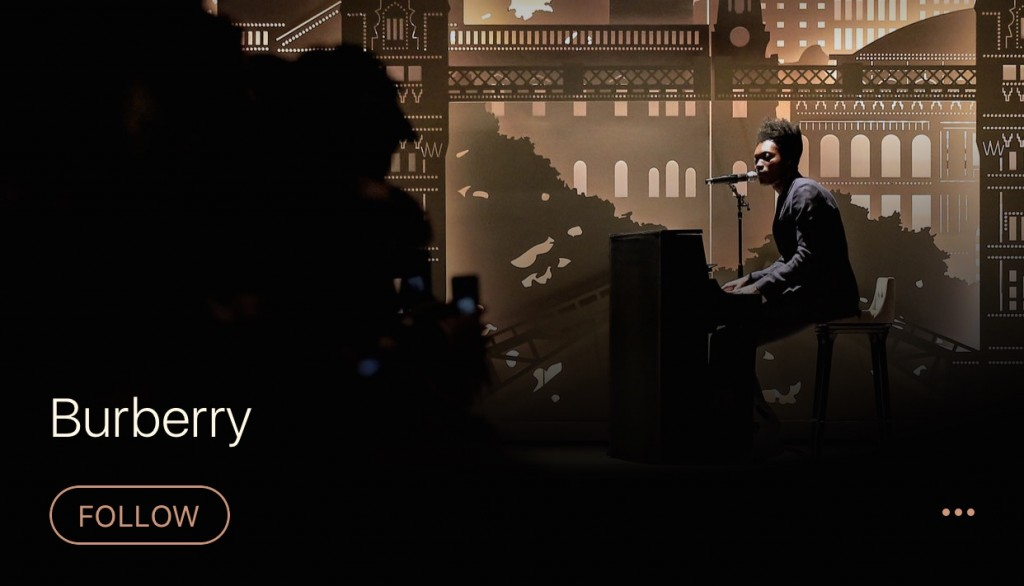 حساب Apple Music برند Burberry
