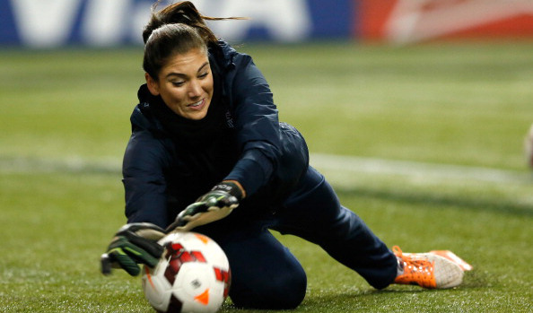 ATLANTA, GA - FEBRUARY 13:  Goalkeeper Hope Solo #1 of the United States warms up prior to facing Russia at Georgia Dome on February 13, 2014 in Atlanta, Georgia.  (Photo by Kevin C. Cox/Getty Images)
